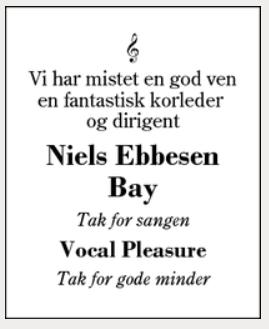 dødsannonce Niels Bay